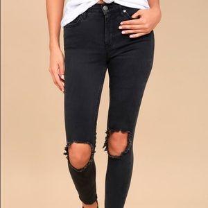 Free People Distressed Knee Grey/Black Jeans